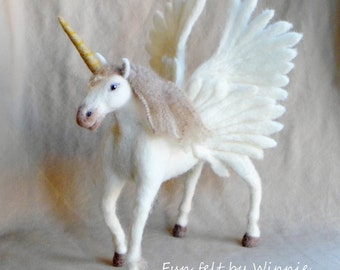 Needle felted Alicorn winged unicorn OOAK handmade wool sculpture