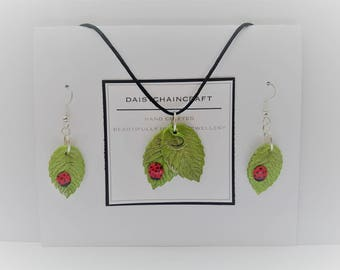 Ladybird Ladybug on Leaf Pendant Necklace and Earrings Set by daisychaincraft
