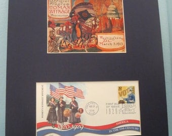 The 1913 Women's Suffrage March in Washington for the Right to Vote & the First Day Cover of the stamp issued to honor the 19th Amendment