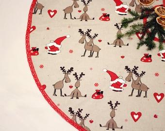 Tree skirt, Christmas Tree Skirt Santa Claus Rudolph Fabric Xmas Tree Skirt Holiday Decor Christmas Ornament Decoration
