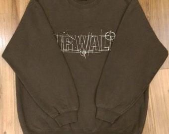 AIRWALK Brown Crew Neck Sweatshirt Sport Trainer Sweater Hip Hop Size L #SW397