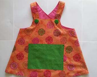 Lined Wrap Around Jumper Top, Wonderfully Contrasted Fun Fabrics, Pink with Polka Dots, Orange with Flowers, Green Pocket & Buttons, Size 4T