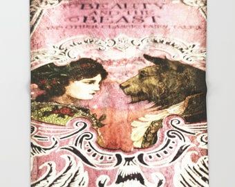 Beauty and the Beast Throw Blanket: bedding, pink, brown, home decor, nursery, girl's room, princess