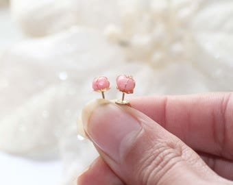 Gold plated stud earrings with coral sea bamboo