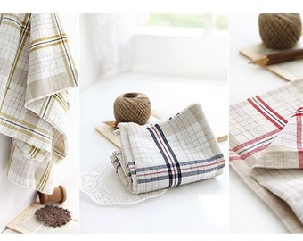 Check Pattern Washing Linen Fabric by Yard - 3 Colors Selection