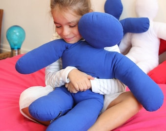 Little Mrteddyman pillow blue