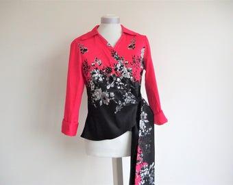 Wrap-around print blouse