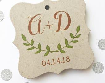 Kraft Initials Favor Tags, Initials Wedding Kraft Favor Tags, Thank You Wedding Hang Tags, Laurel Wedding Favor Tags  (FS-105-2-KR)