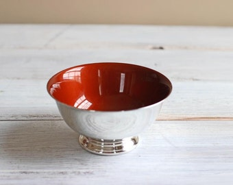 Enamel Silver Plated Bowl Orange Brown Reed & Barton Small Candy Dish Caramel Color Mid Century Home Decor