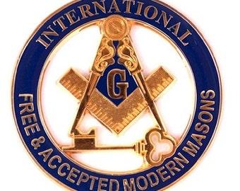 "International Free & Accepted Modern Masons Round Blue and Gold Car Auto Emblem - 3"" Diameter - TME-EMB-M-00035"
