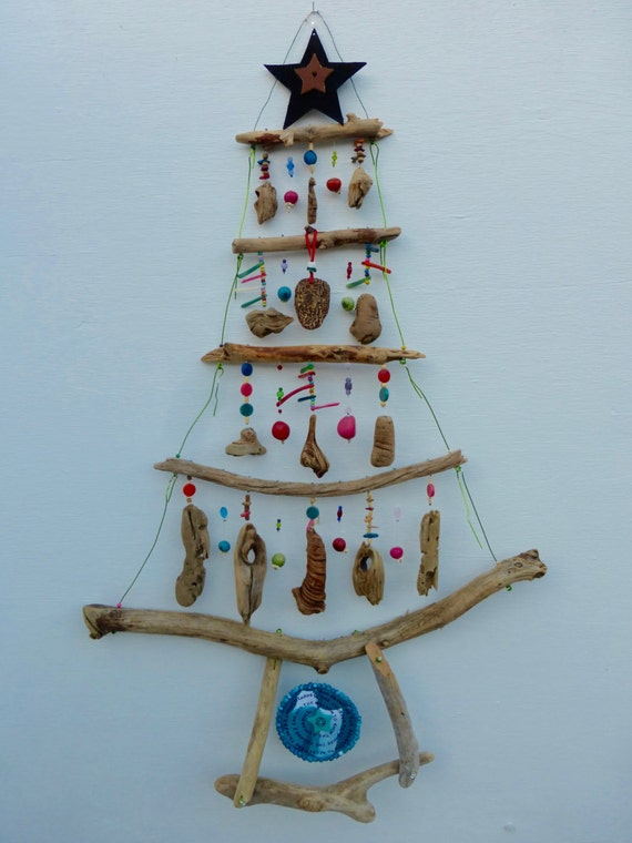 Wall hanging hanging mobile driftwood zen art natural art for How to make a hanging driftwood christmas tree