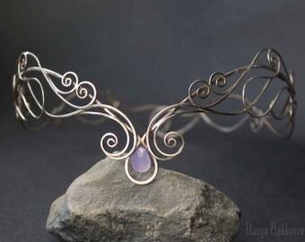 Elven tiara, Lavender сhalcedony tiara, Silver tiara, Elf diadem, Wire wrapped tiara