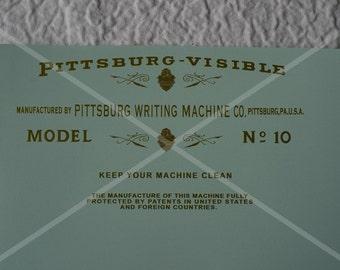 Pittsburg Visible Model 10 Typewriter Water Slide Decal Set
