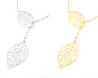 Gold Leaf Lariat, Silver leaf Necklace, Delicate leaves Necklace, Dainty Leaf Necklace, Assymetrical Gold Necklace, Gift For Friend