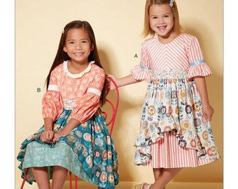 McCall's Pattern M7528 Children's/Girls' Back-Button, Layered-Skirt Dresses