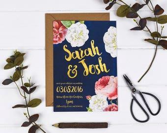 Wedding Invitation - English Garden - Wedding Stationery - Printed or DIY Printable Download - Personalised - Floral Wedding - Blue Wedding