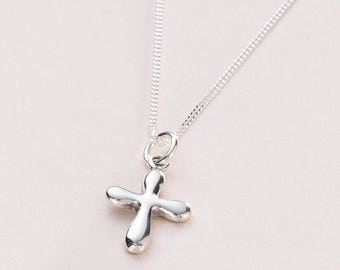 Silver Cross Necklace. Christening Gift for Girl. Also for Communion, Baptism etc