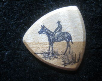 Wooden Guitar Pick with Horse and Male or Female Rider.