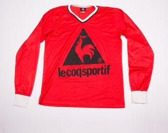 Vintage Le Coq Sportif 90s Long Sleeved Red Tshirt