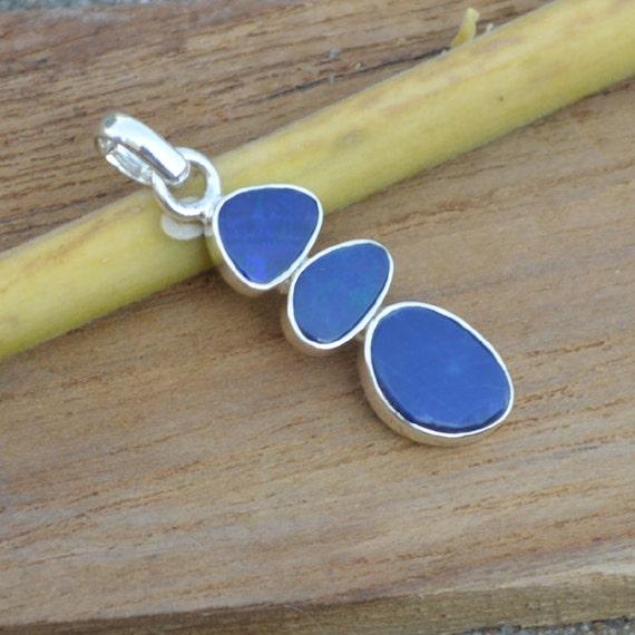 Natural Doublet Blue Opal Pandant,  Blue Opal Pandant,  Unique Gift Pandant Jewelry,  Sterling Silver Necklace