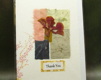 Thank You Card/ Hand Made Greeting Card/ Natural Flower/ Cherry Blossom/ Hand Made Paper