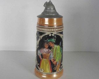 Vintage West Germany Stoneware Bonn Beer Stein with Pewter Lid.