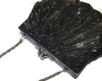 La Regale Pewter Metallic Beaded Handbag with Silver Chain Strap - Vintage Beaded Evening Bag