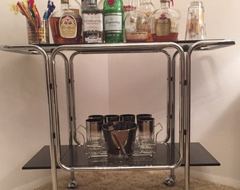 SALE--100.00 OFF--Discount shown--Mid Century Modern, Retro, Vintage, Italian Chrome Bar Cart