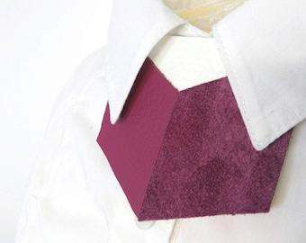 SALE Red Grape Leather shirt necklace,unique collar accessory, unisex bow tie alternative, statement necklace, bold necklace, shirt tie