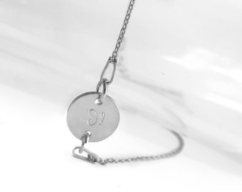 Dainty Silver Initial Bracelet, Personalized Jewelry, Hand Stamped Letter Disc Bracelet, Sterling Silver Curb Chain Bracelet, Gift Idea