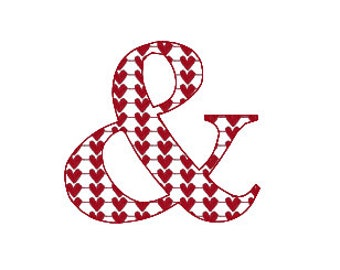 "BUY 2 GET 1 FREE - 2"", 3"", 4"", 5"", 6"" Ampersand And Symbol With Heart Fill Filled Machine Embroidery Design - Wedding, Anniversary"