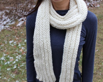 Textured Scarf in White