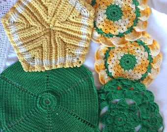 Five Vintage Crocheted Hot Pads; Green and yellow Hot Pads