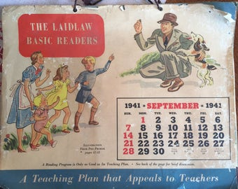 Vintage Laidlaw Basic Readers Calender; 1941; Advertising for Readers and Teacher Plan Book