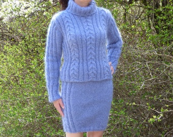 New Hand Knitted Mohair Skirt & Sweater ,Blue,Handcrafted, size S, M,L