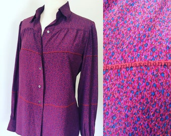 Mila Schon silk 1970s blouse, one of a kind print, amazing colors!