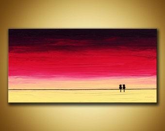Love birds art, Original artwork, Purple sunset art, Love birds painting, Birds on wire art, Love birds decor, Purple canvas art, 12x24 art