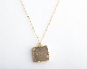Raw Umber Druzy Crystal Necklace