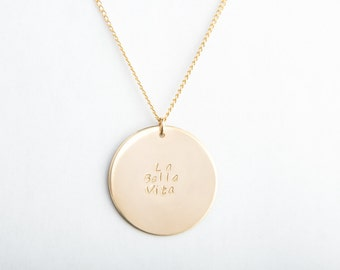 """Extra Large Round Disc Necklace, 1 1/8"""", 28mm, Gold Filled, Sterling Silver, Rose Gold Filled"""