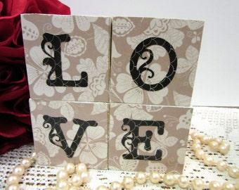 Sale Love Blocks Wooden Wedding Deco Valentine's Gift Love Letters Home Decor Handmade