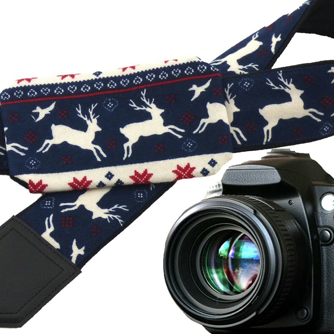 Camera christmas ornaments - Christmas Camera Strap With Lens Pocket Deer Camera Strap White Reindeer Blue And Red Christmas Ornaments Christmas Gifts Xmas Fashion