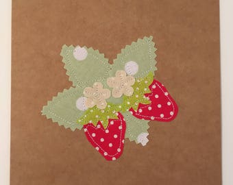 Appliqué Strawberry Card