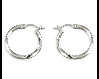 A Pair of Real Sterling Silver Twisted Hoop Earrings with a Hinged Top Fastening. NOT Plated REAL Silver Jewellery