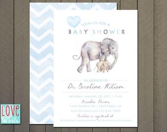 baby shower invitation, adoption shower, boy, elephant, blue, balloon PRINTABLE DIGITAL FILE - 5x7