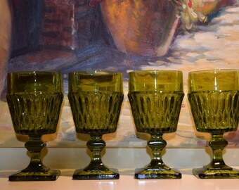 Indiana Glass Co. Large Green Wine Glasses Mt. Vernon Pattern Set of 4