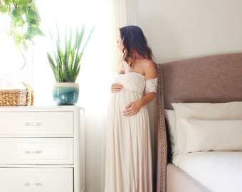 bohemian wedding dress Maternity gown long infinity maternity dress- the lace wrap babydoll
