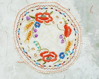Vintage French embroidery - vintage French textile - Provencal style - French Provencal - Provencal fabric - French fabric - table decor