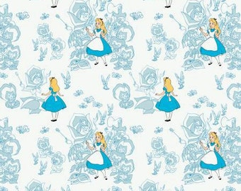 Alice in Wonderland, Golden Afternoon Blue flowers, cotton fabric by Camelot Fabrics
