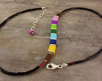 Tender Polaris necklace, multi colored, black, chain, necklace, Pol ARIS chain, Pol ARIS jewelry, beads, yellow, blue, green, purple, gift girlfriend,.