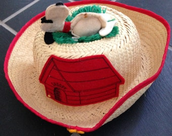 Straw Woven Sleeping Snoopy Child's Hat
